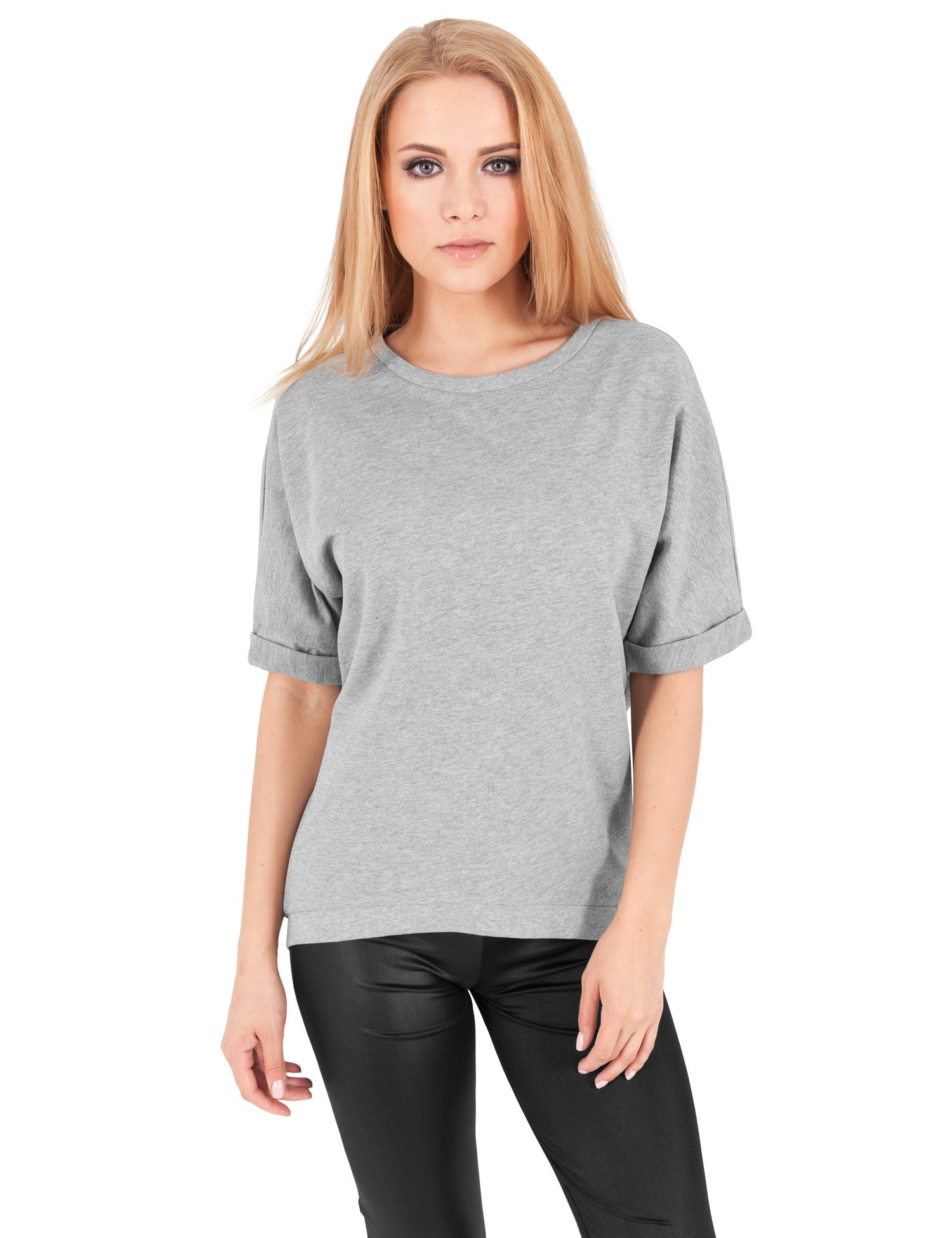 Ladies Short Sleeve Terry Crew TB1052 Grey