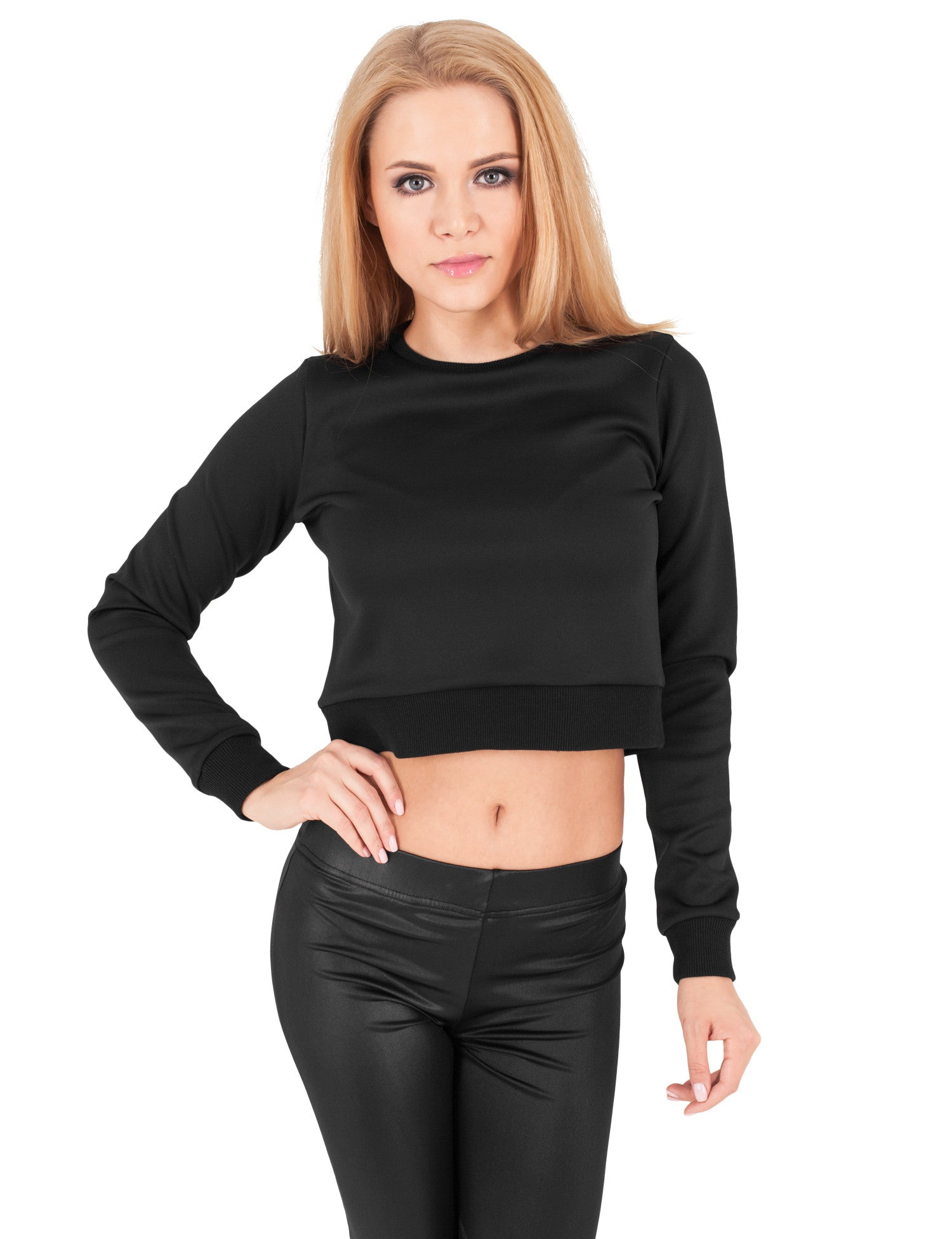 Ladies Scuba Cropped Crew TB1063 Black