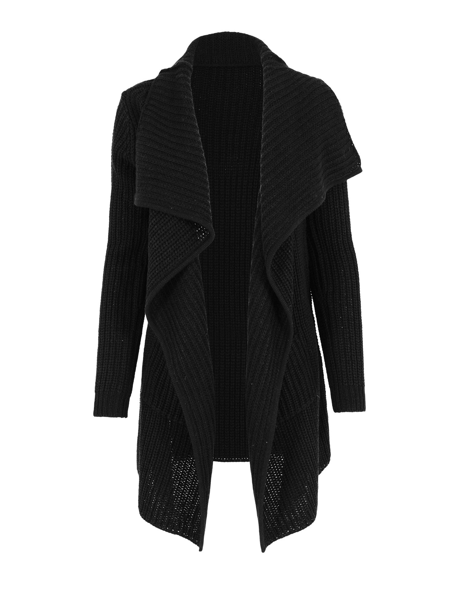 Ladies Knitted Long Cape TB1079 Black