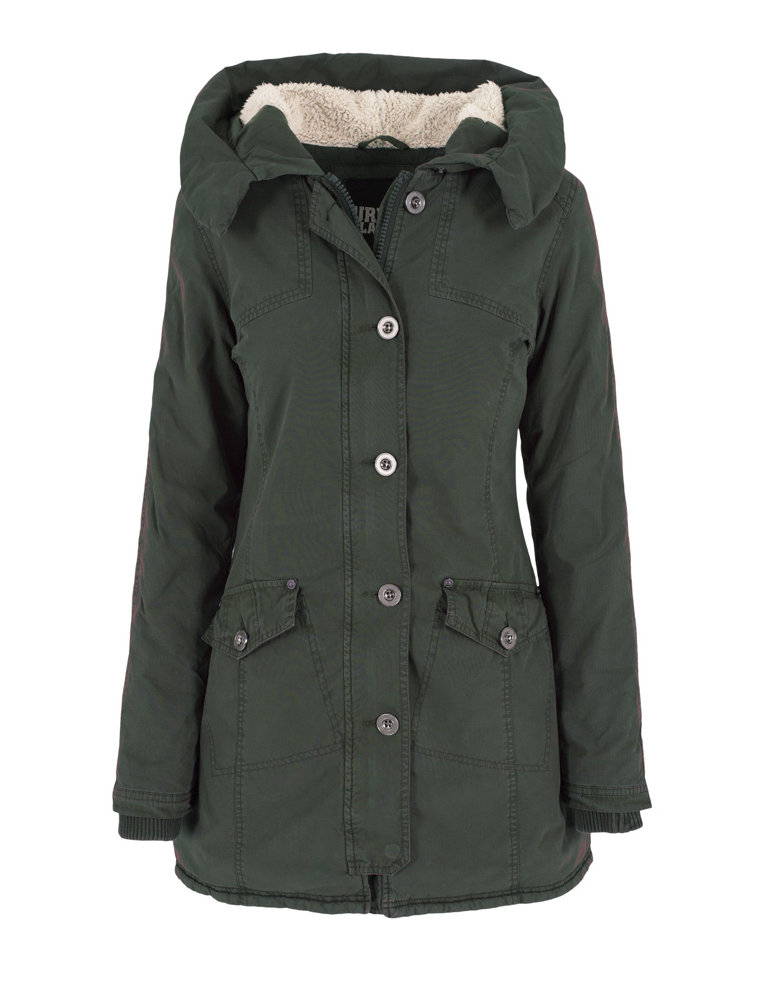 Ladies Garment Washed Long Parka TB1088 Green