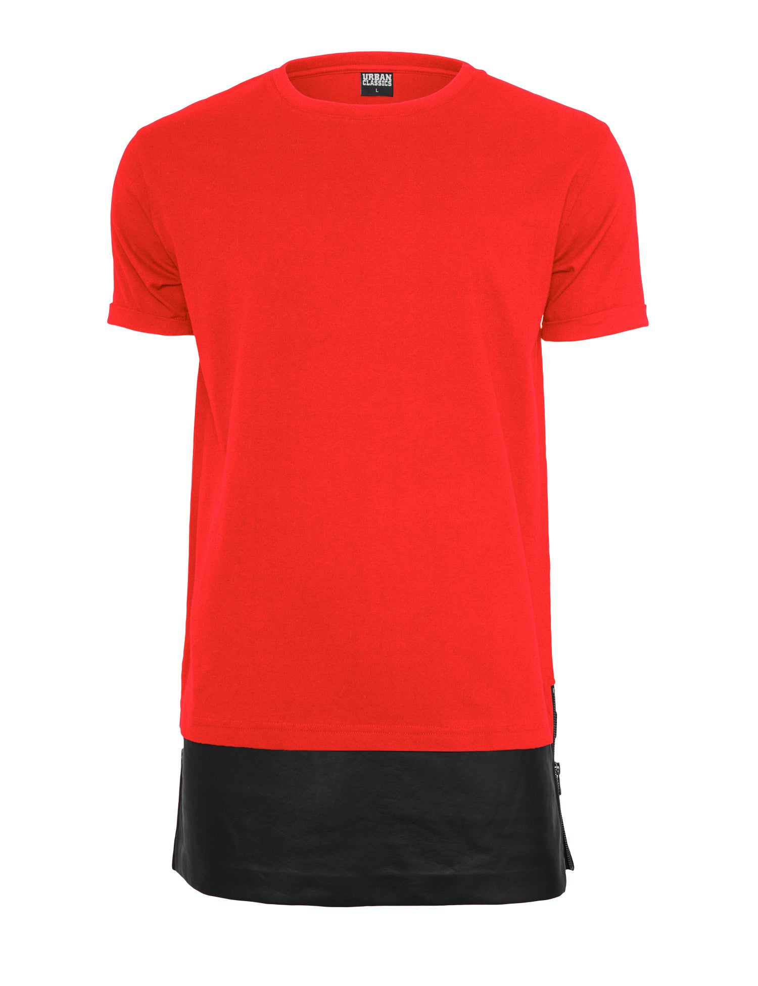 Long Zipped Leather Imitation Bottom Tee TB818 Red