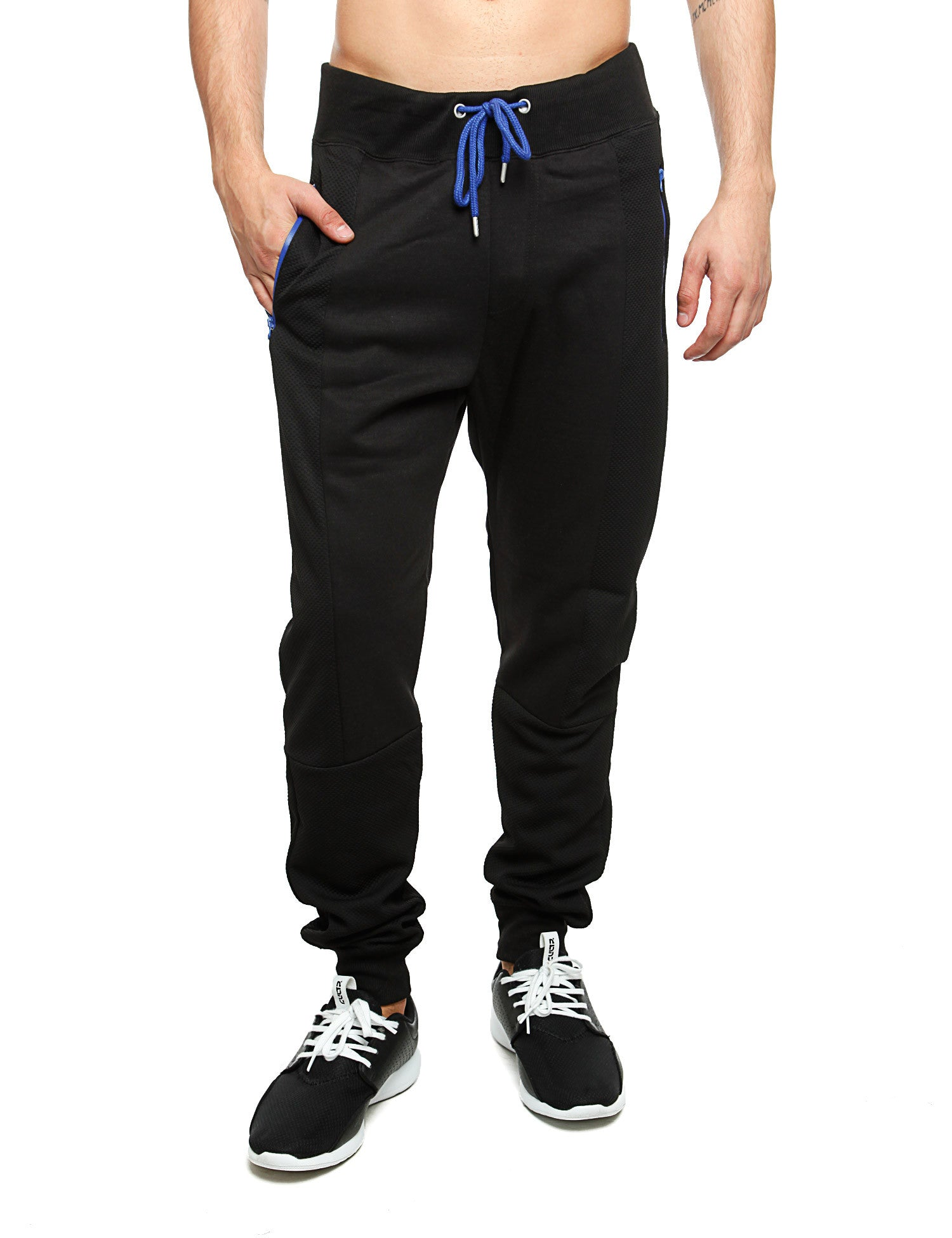 Royal Blue Jersey Mixed Sweatpants 24015P Black