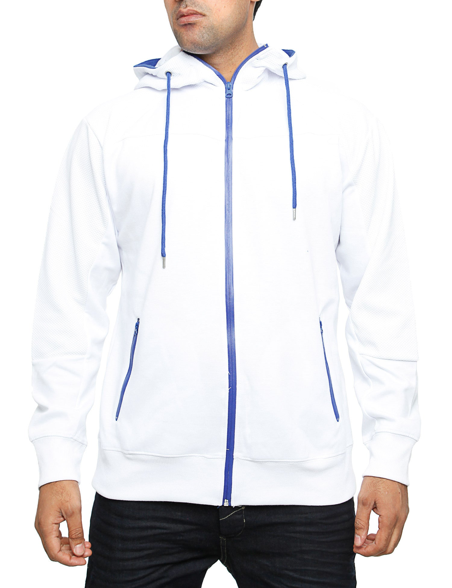 Royal Blue Jersey Mixed Zip Hoody 24018H White