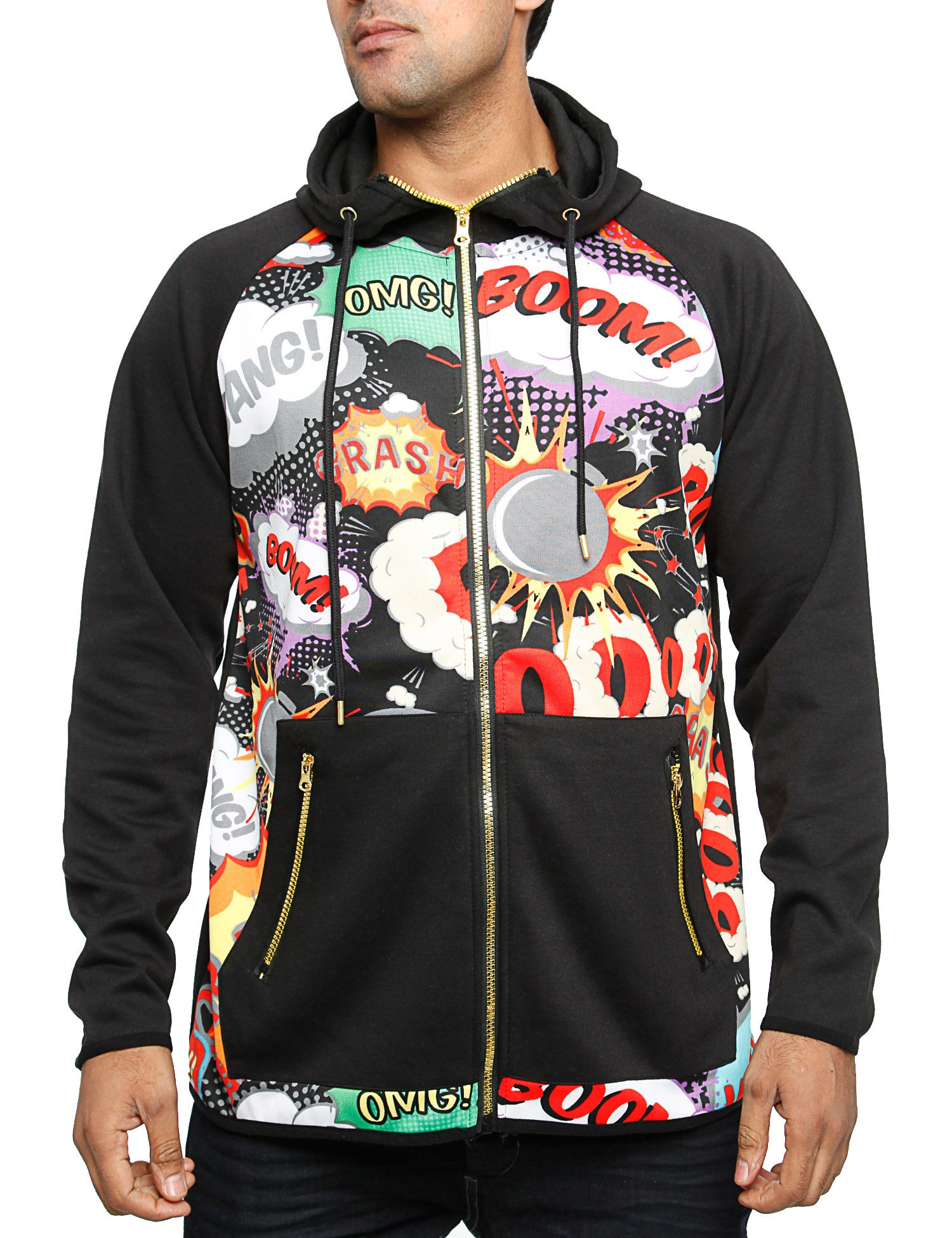 Royal Blue Cartoon Zip Hoody T7HD1027 Black