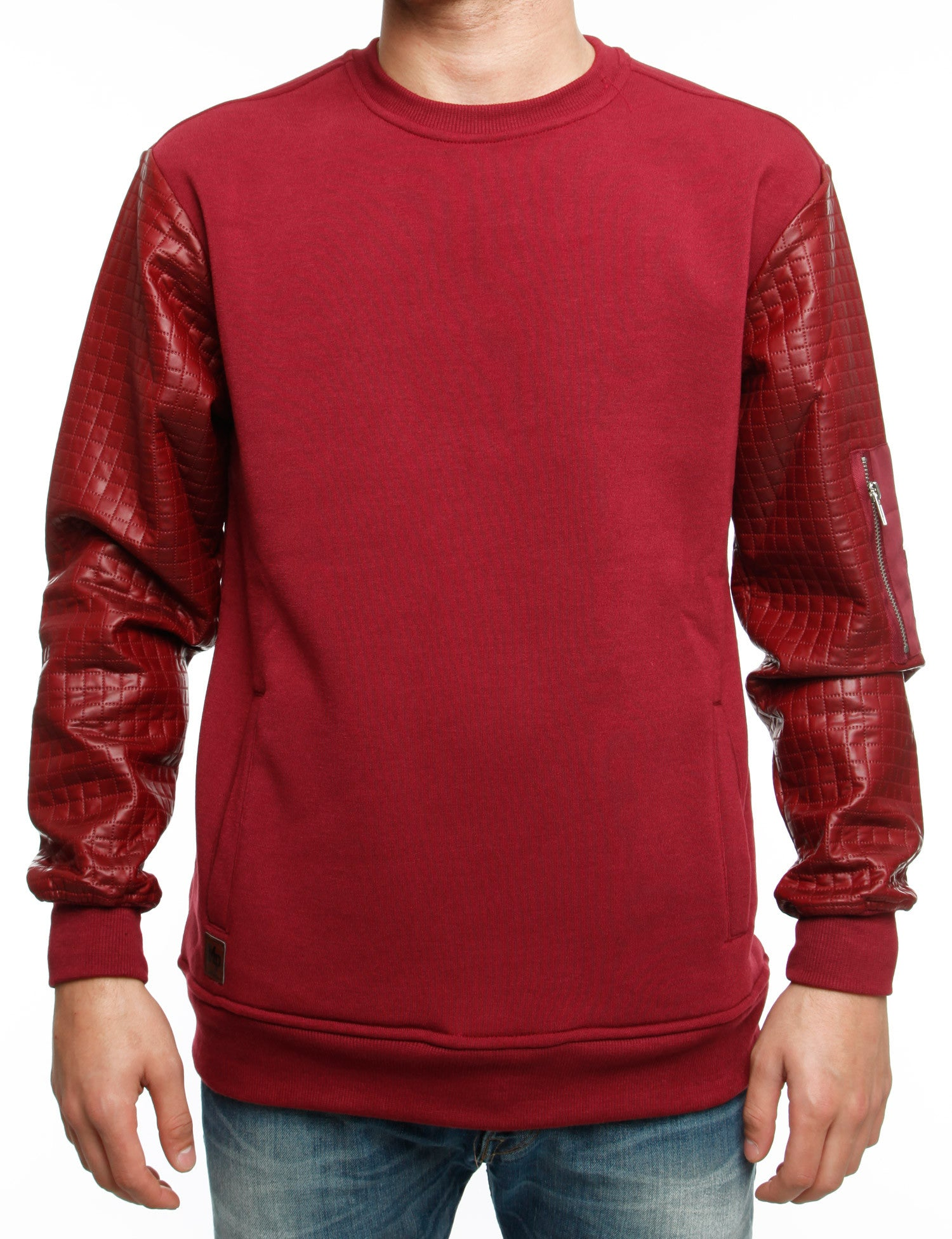 Imperious Quilted Crewneck CS566 Burgundy Red