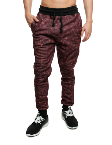 Imperious Denim Effect Sweatpant FP562 Burgundy Red