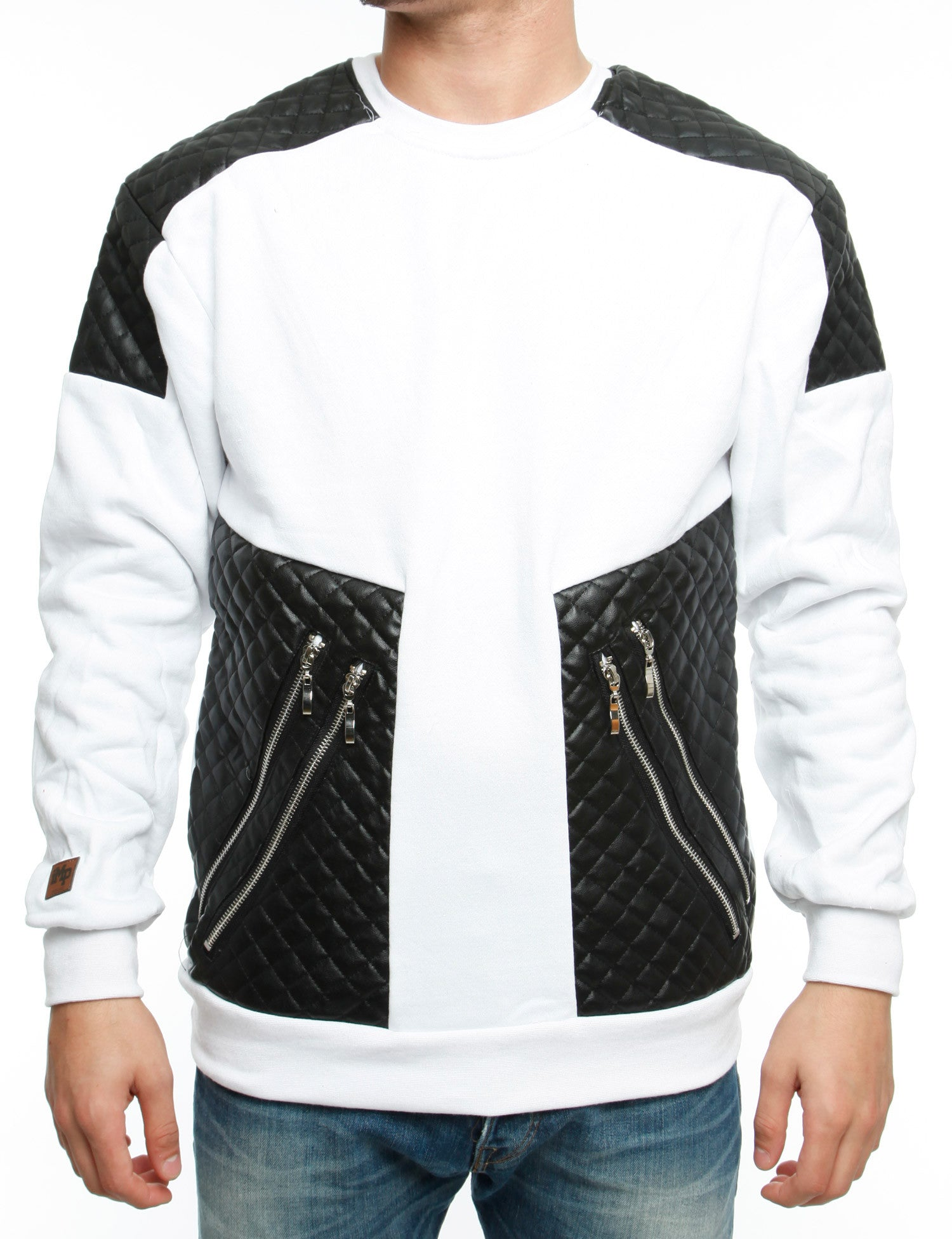 Imperious CS63 Quiled PU Trim Crewneck White