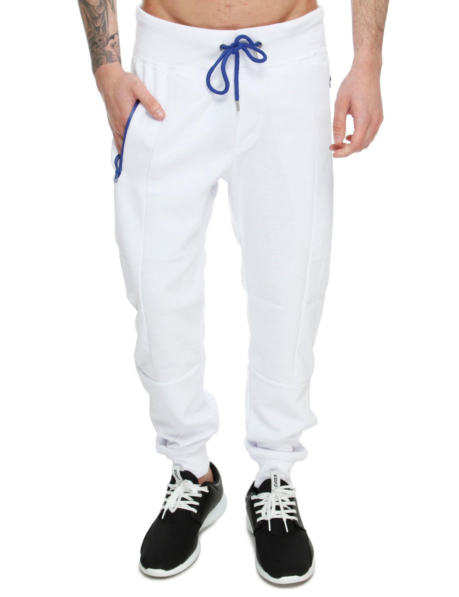 Royal Blue Jersey Mixed Sweatpants 24015P White