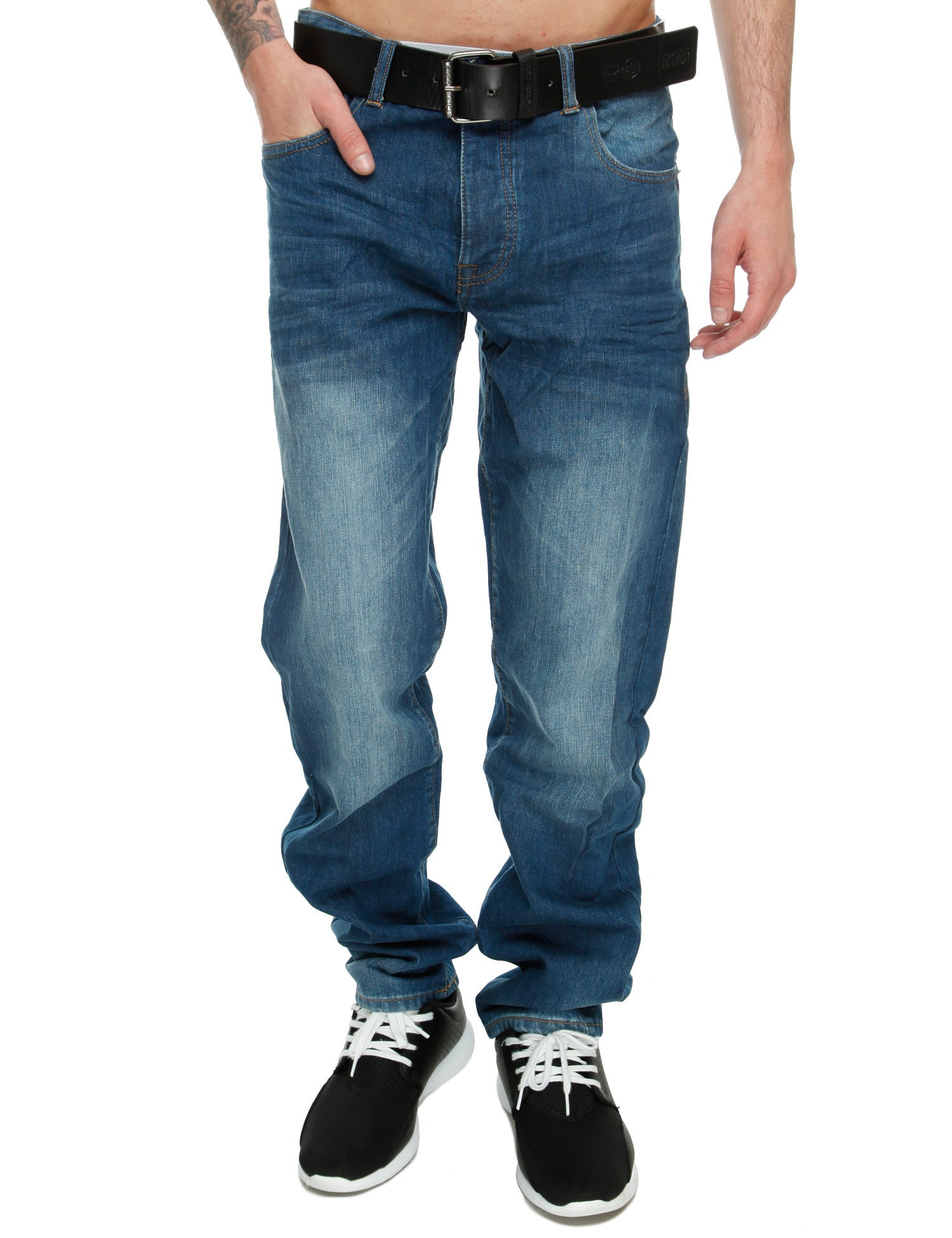 Crosshatch Hitchen Jeans Straight Fit CH109157 Mid Wash Blue