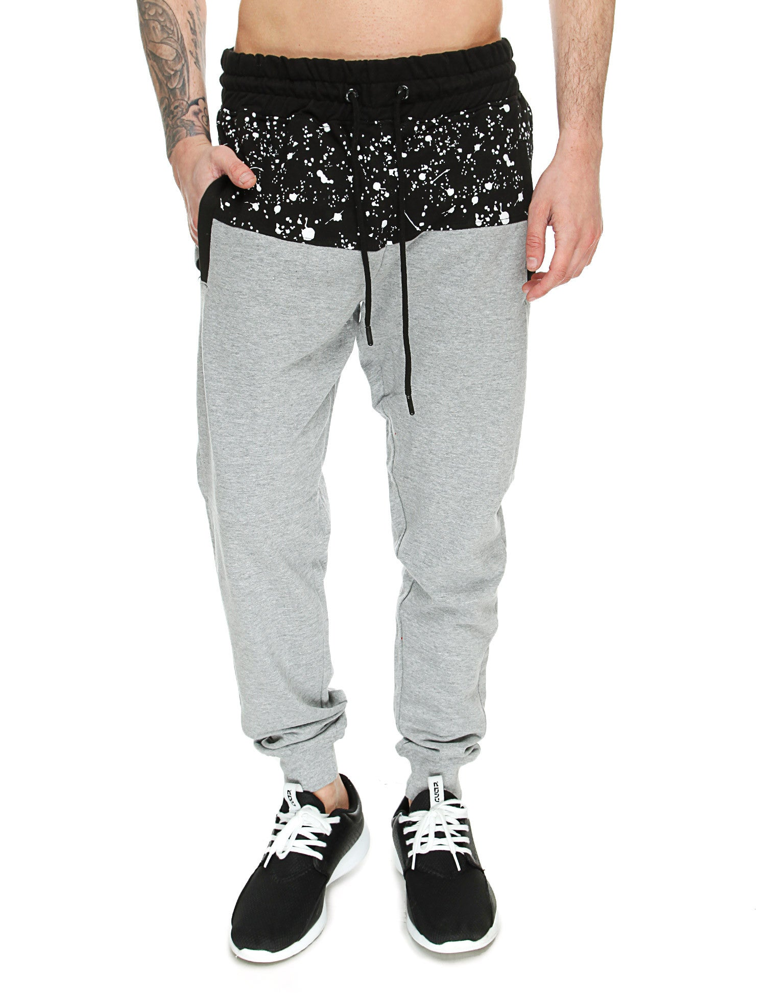Switch Paint Splatter Sweatpant SS6471 Heather Grey Black