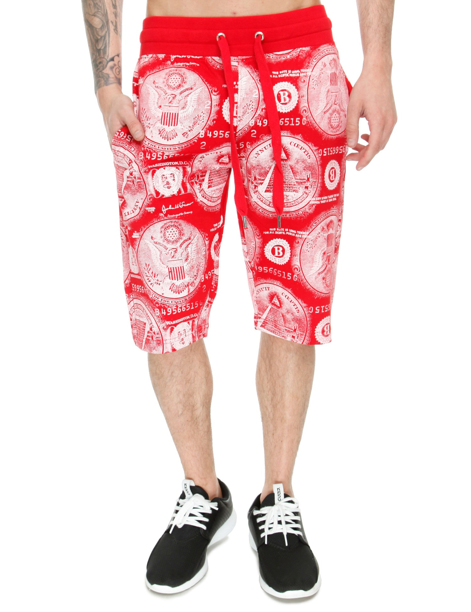 Switch Money Print Shorts SS6481 Red