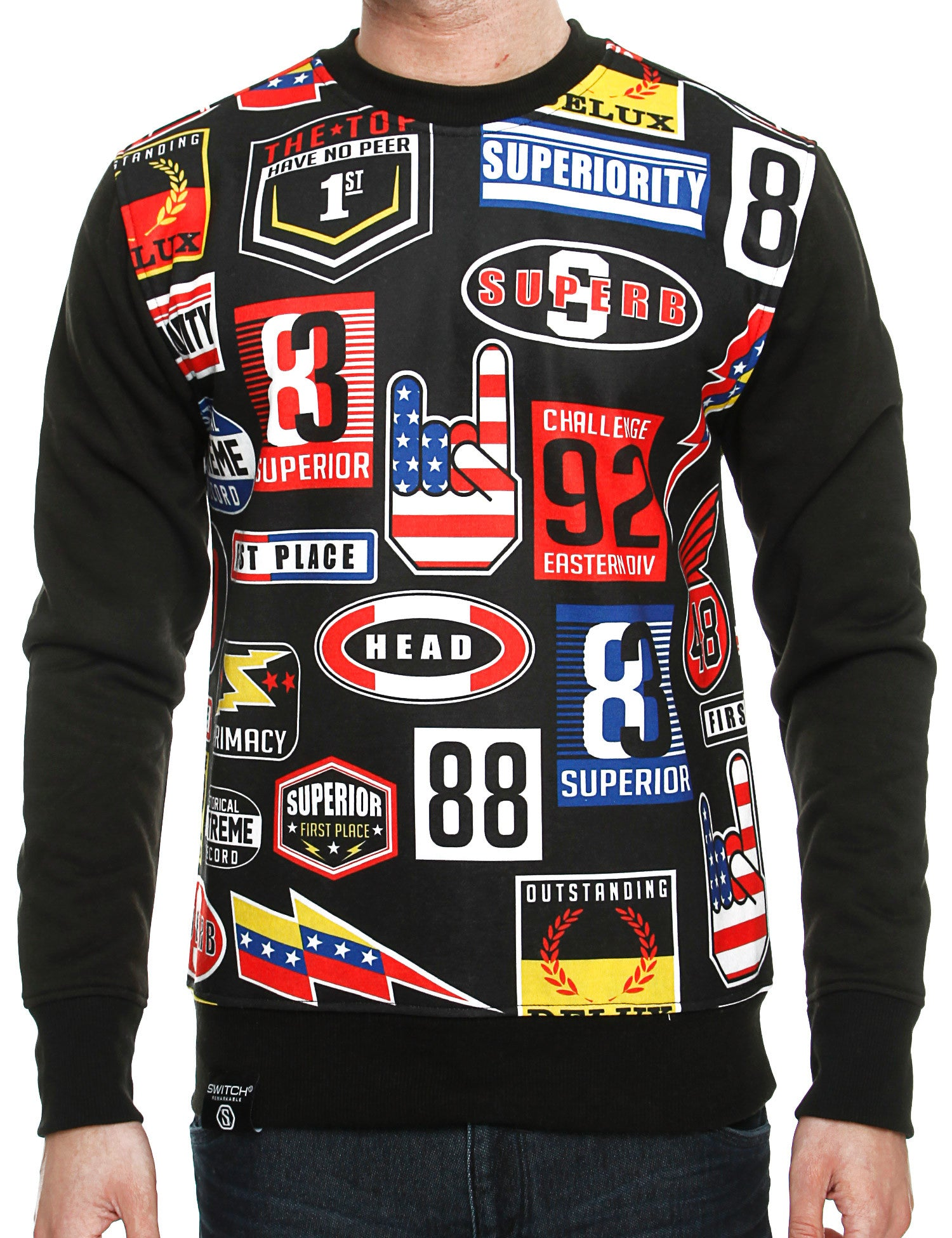 Switch Nascar Print Crewneck SF5236 Black
