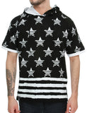 Switch Star Stripe Hooded T-Shirt SS6074 Black