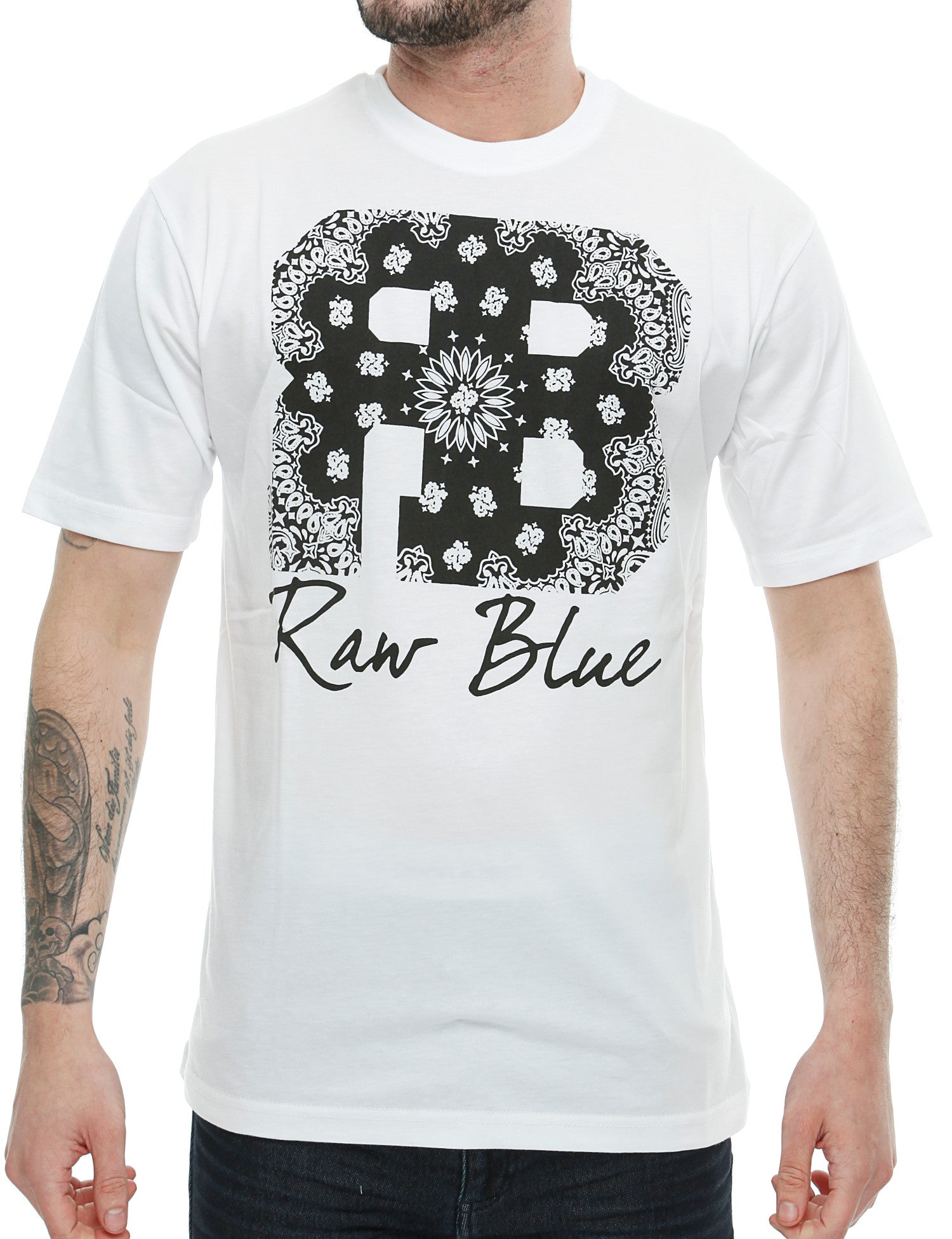 Raw Blue RB Bandana T-Shirt RB16-010 White