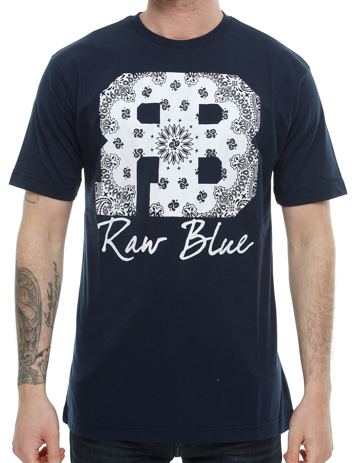 Raw Blue RB Bandana T-Shirt RB16-010 Navy