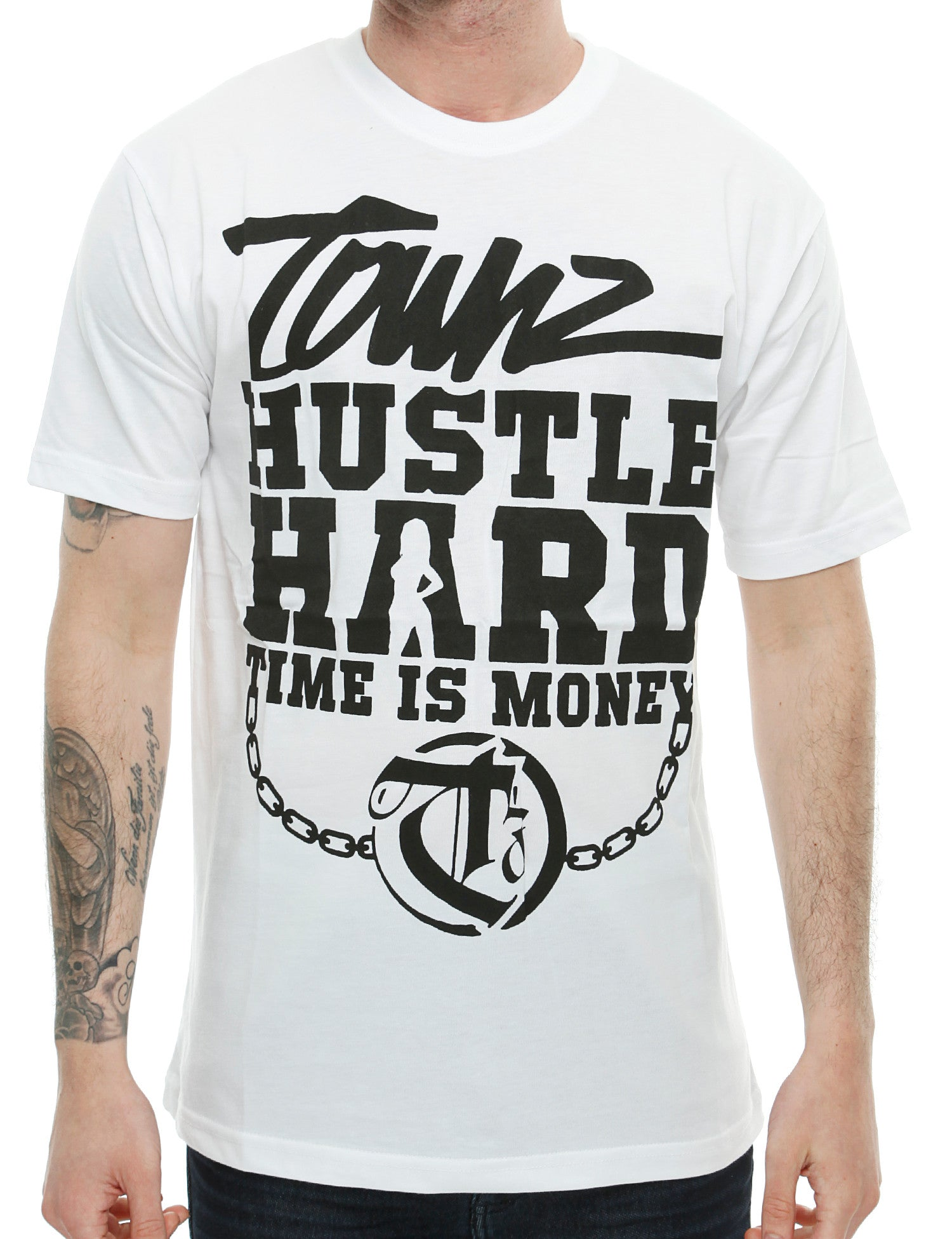 Townz Hustle Hard T-Shirt TNZ16-002 White