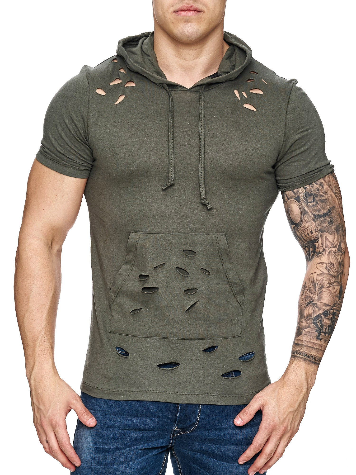 Free Side Ripped T-Shirt 16-107 Khaki Green