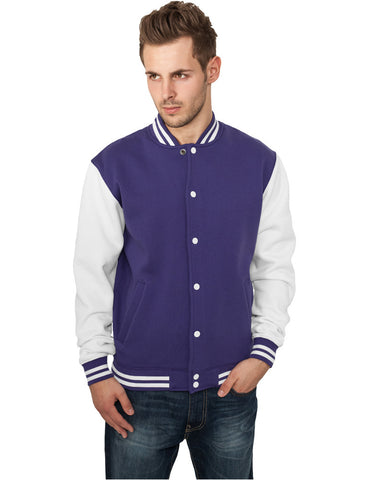 2-tone College Sweatjacket TB207 pur/wht Purple