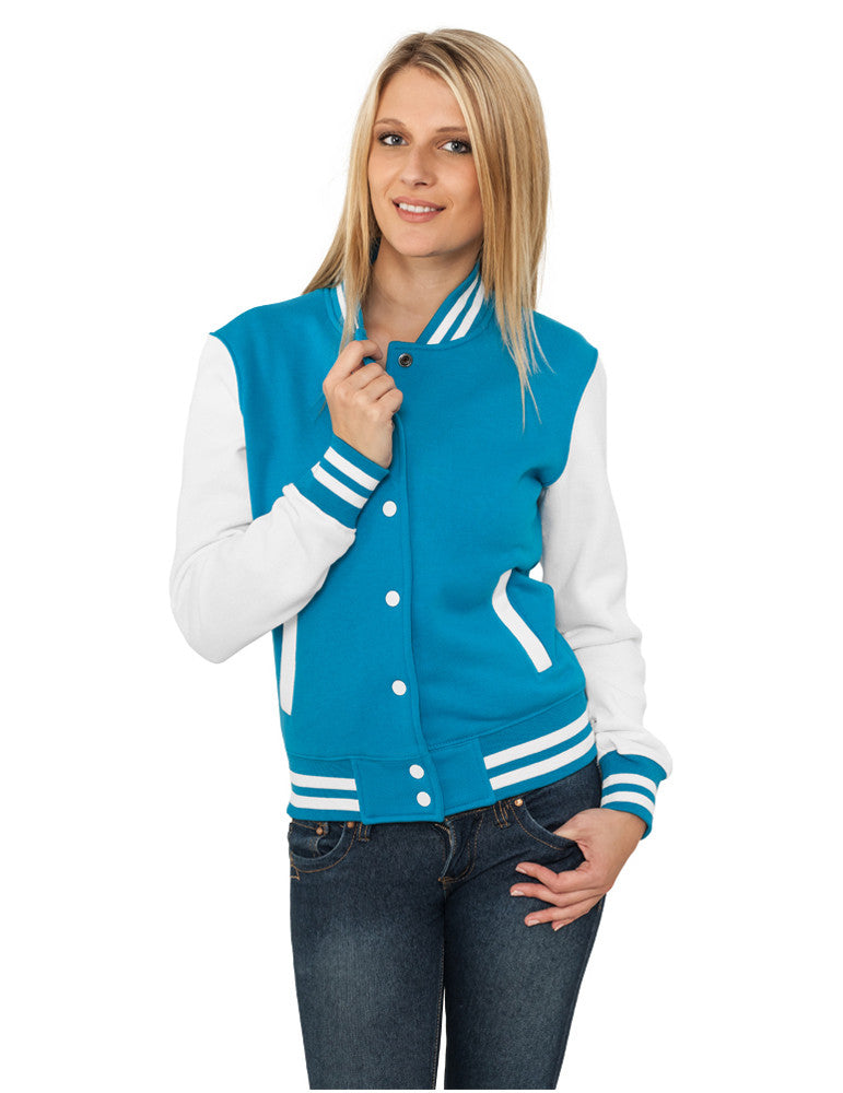 Ladies 2-tone College Sweatjacket TB218 tur/wht Turquoise