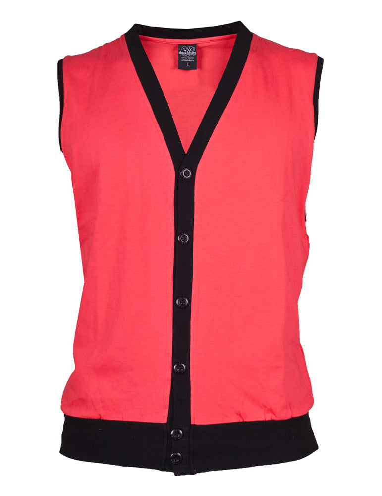 Jersey Button Vest TB261 inf/blk Red