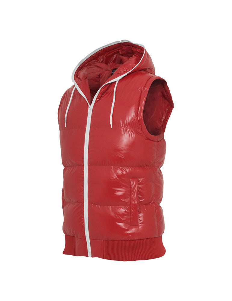 Hooded Bubble Vest TB332 red/wht Red