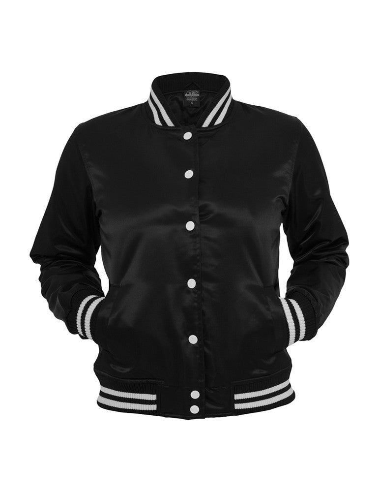 Ladies Shiny College Jacket TB349 blk/wht Black