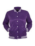 Ladies Shiny College Jacket TB349 pur/wht Purple