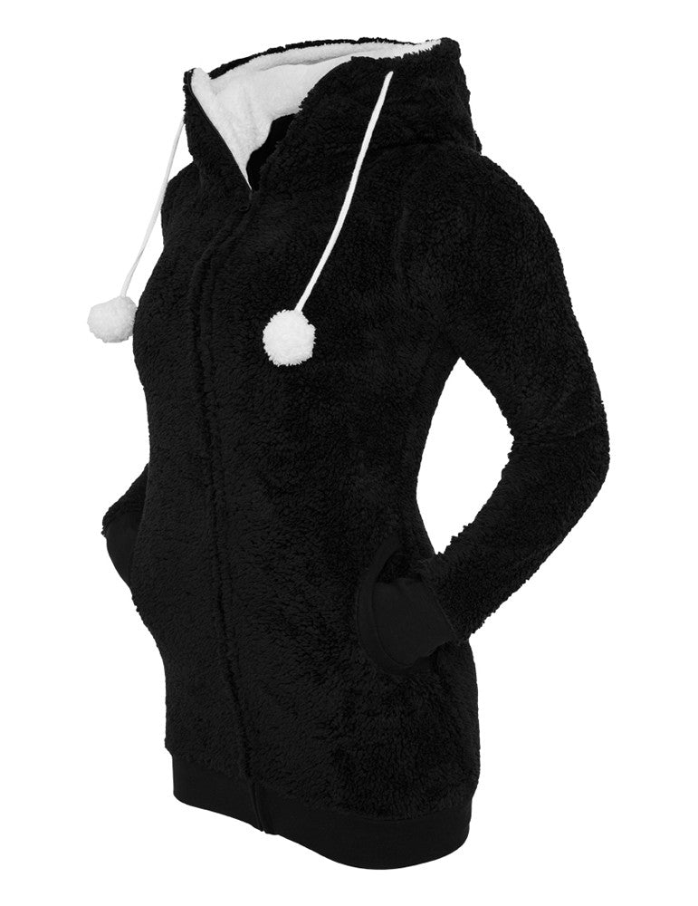 Ladies Long Teddy Zip Hoody TB394 blk/wht Black