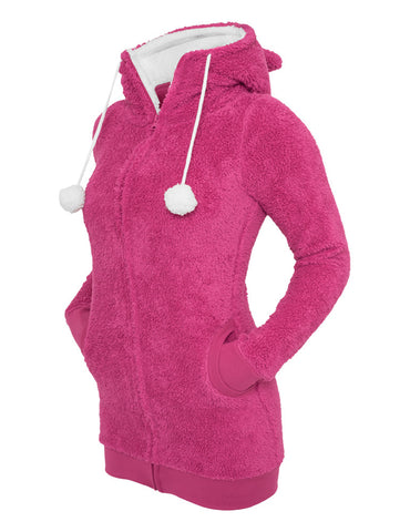 Ladies Long Teddy Zip Hoody TB394 fuc/wht Purple