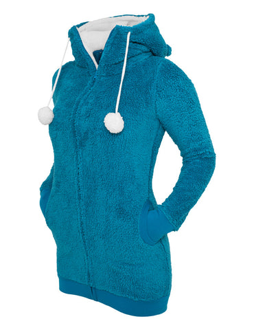 Ladies Long Teddy Zip Hoody TB394 tur/wht Turquoise