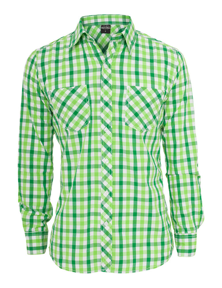 Tricolor Big Checked Shirt TB414 cgrwhtlgr Green