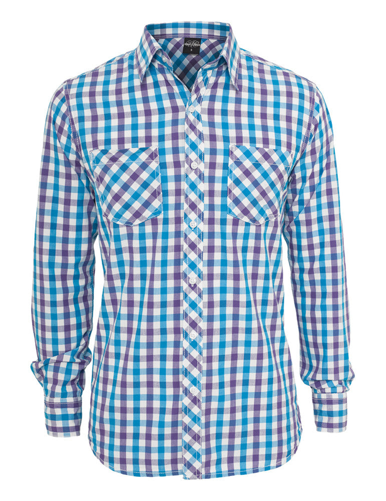 Tricolor Big Checked Shirt TB414 purwhttur Purple
