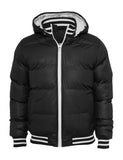 Shiny 2-tone Hooded College Bubble Jacket TB431 black Black