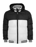 Shiny 2-tone Hooded College Bubble Jacket TB431 wht/blk White