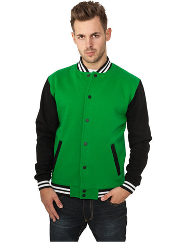 3-tone College Sweatjacket TB444 cgrblkwht Green