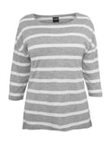 Ladies Loose Striped Tee TB460 gry/wht Grey