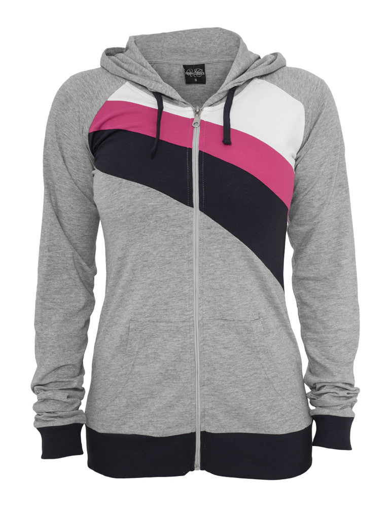 Ladies 3 Color Jersey Ziphoody TB467 gry/nvy/fu Grey