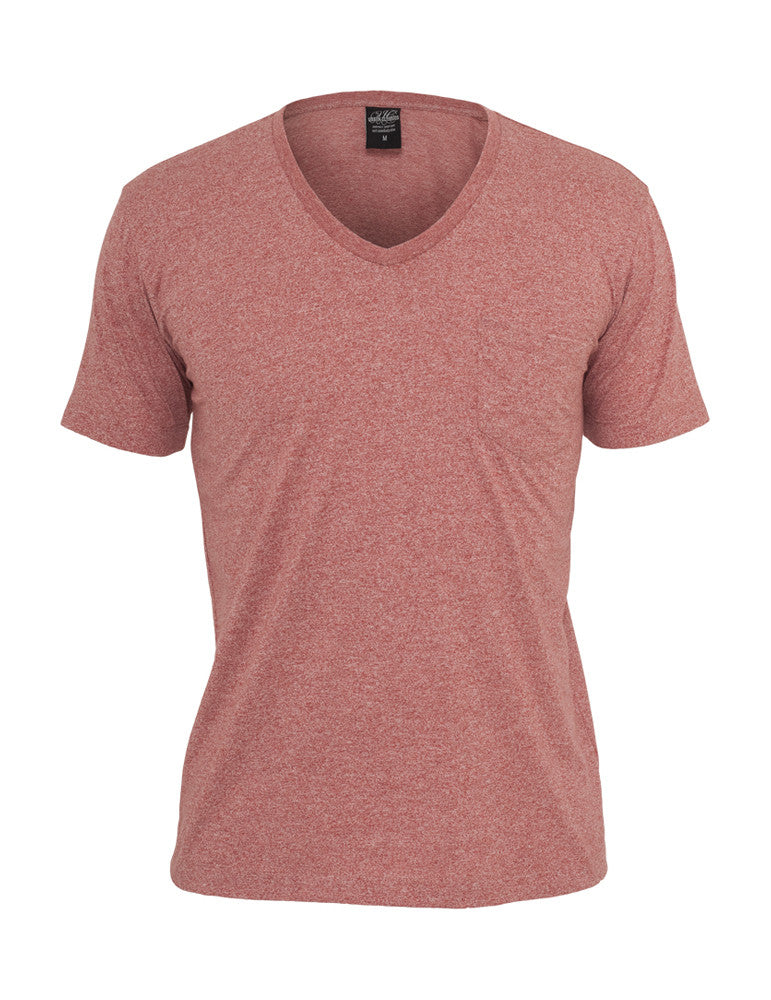 Melange V-Neck Pocket Tee TB484 ruby Red