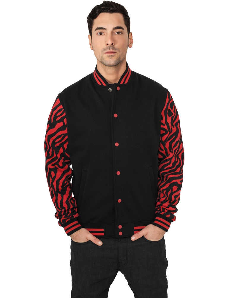 2-tone Zebra College Jacket TB505 red/blk Red