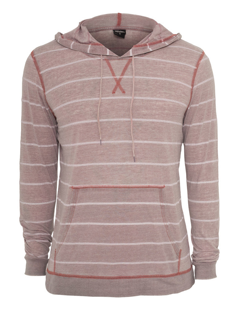Striped Burnout Hoody TB536 ruby/wht Red