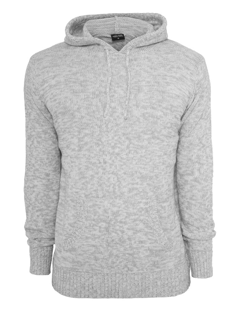 Melange Knitted Hoody TB553 gry/wht Grey