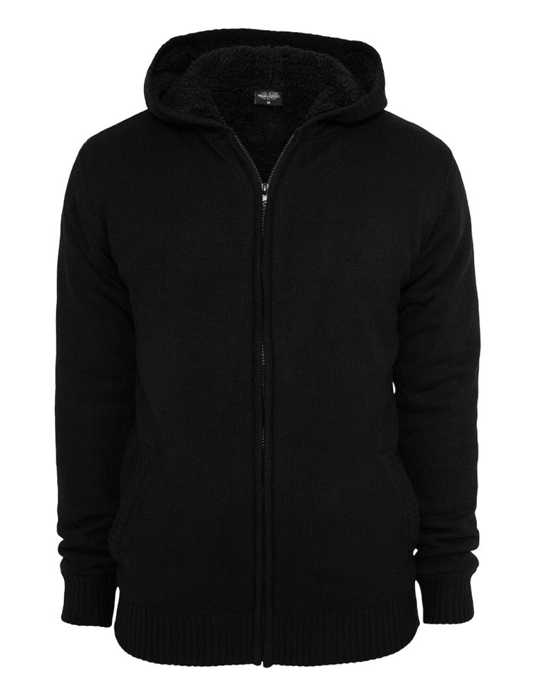 Knitted Winter Zip Hoody TB556 blk/blk Black