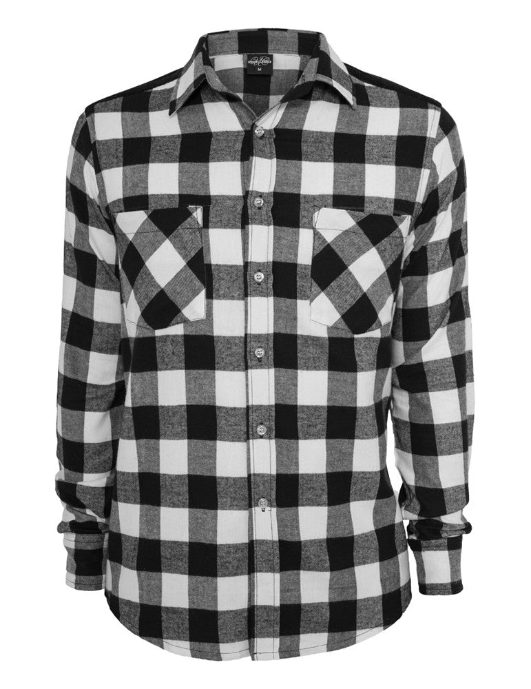 Cord Patched Checked Flanell Shirt TB558 blk/wht Black