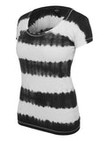 Ladies Dip Dye Stripe Tee TB596 blk/wht Black