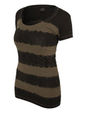 Ladies Dip Dye Stripe Tee TB596 d.gry/olive Grey