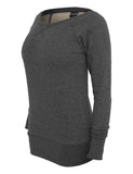 Ladies Melange Crewneck TB609 black Black
