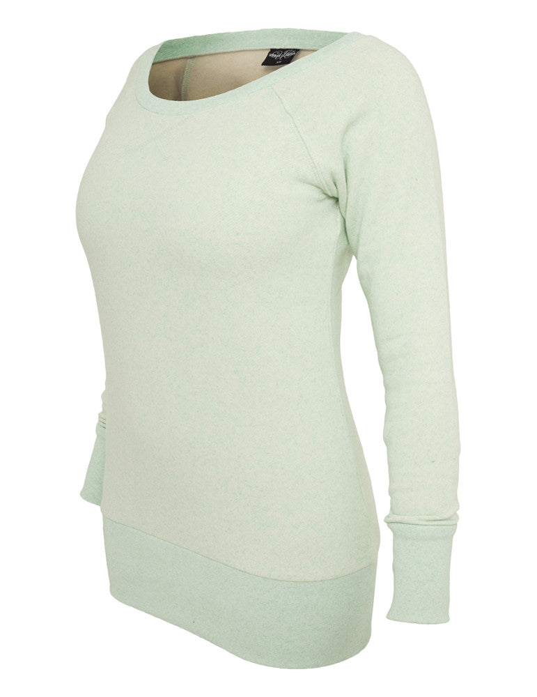 Ladies Melange Crewneck TB609 mint/wht Green