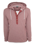 Fine Stripe Button Jersey Hoody TB641 ruby/wht Red