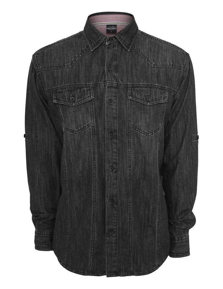 Heavy Denim Shirt TB656 Black Dark  Black