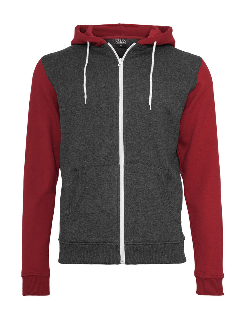 Relaxed 3-Tone Zip Hoody TB665 cha/ruby/wht Grey
